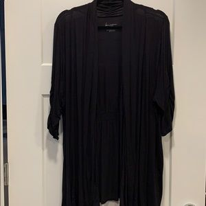 Black Lane Bryant open cardigan with ruched sleeve